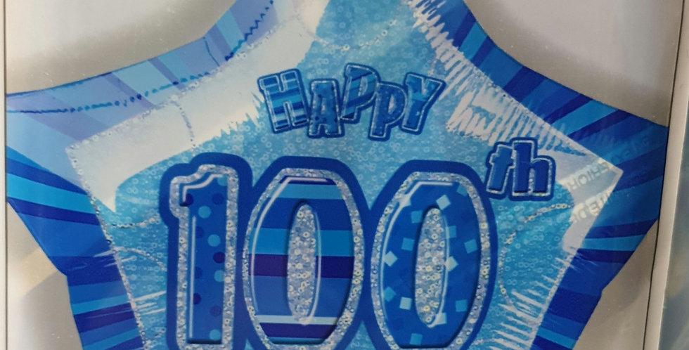 Birthday Foil 100th Blue
