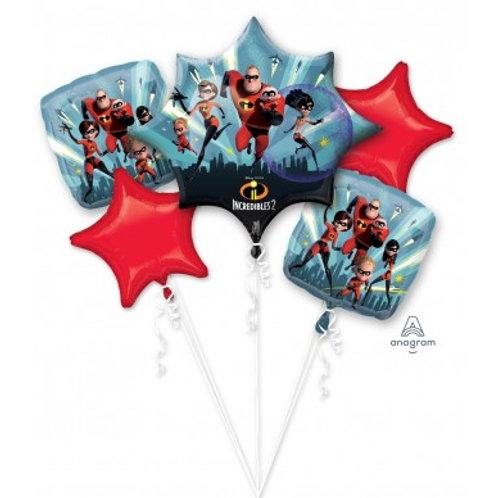 Incredibles Balloon Bouquet - Pkt of 5 Foil Balloons