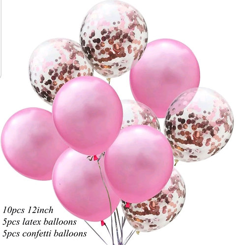 Confetti Balloon Pearl Pink and Rose Gold Bouquet