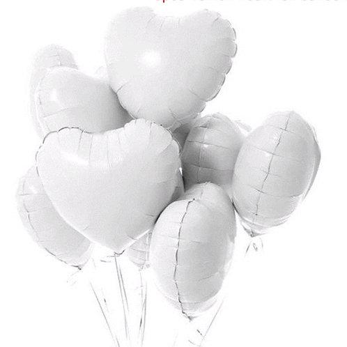 White Heart Foil Balloons Pkt 10