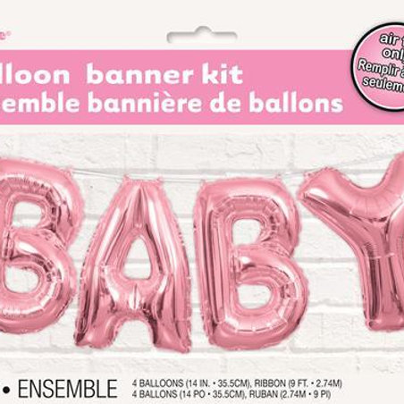 """Baby Foil Letter Balloons 14"""" Girl - Airfill Only"""