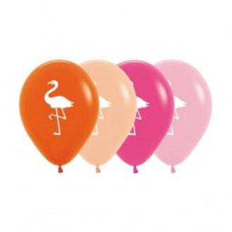 Flamingo Print Balloons - Pkt 4