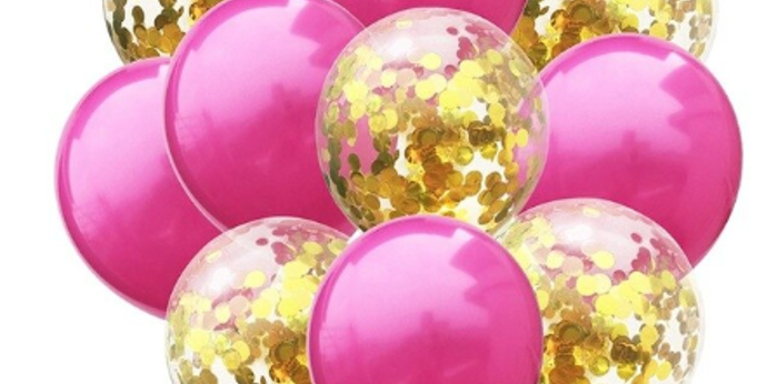 Confetti Balloon Hot Pink and Gold Bouquet