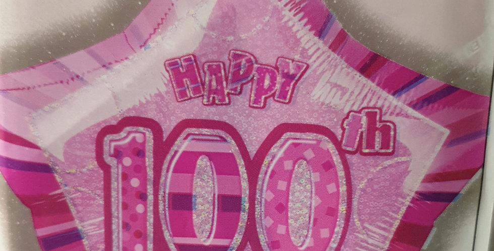 Birthday Foil 100th Pink