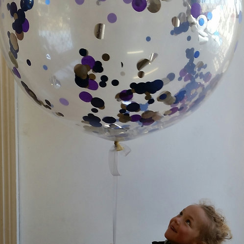 Jumbo Confetti Balloon 90cm in Blue / Silver - inflated + Delivery Charge