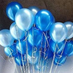 Blue & Light Blue Balloons, metallic & pearl 30cm - Pkt of 12
