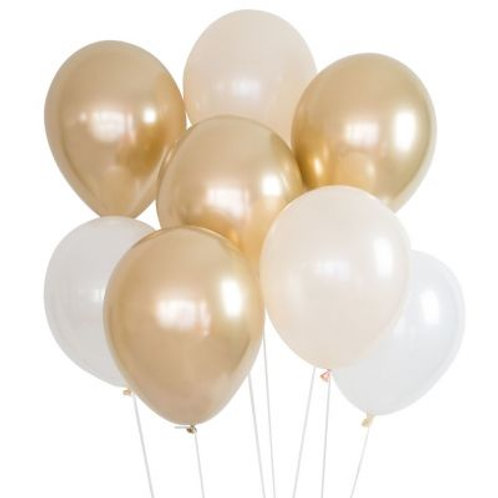 Balloons Gold, Peach and White Pkt 8