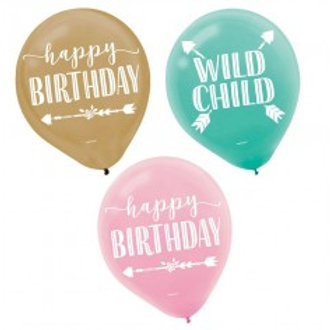 Wild child birthday print balloons - Pkt of 6 balloons