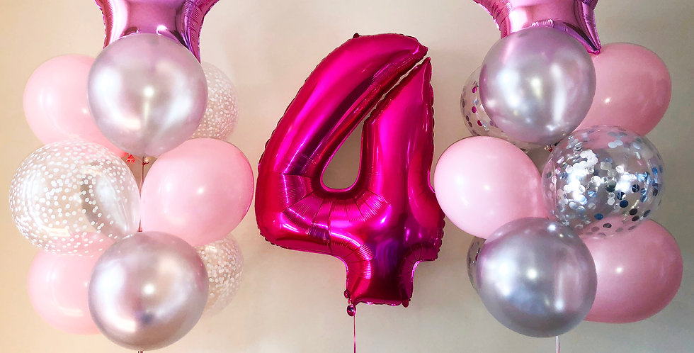 Number Balloon with Pink and Silver Bouquet