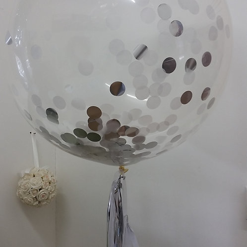 Jumbo Confetti Balloon 90cm Silver & White - inflated + Delivery Charge