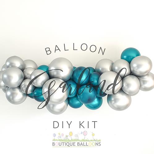 Mini Balloon Garland DIY Kit - Teal and Silver