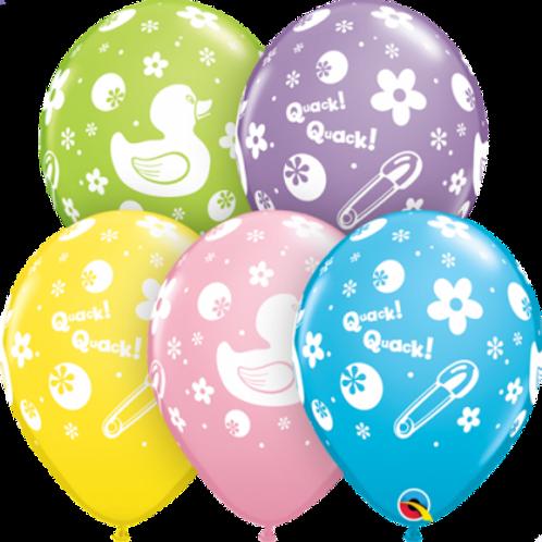 Rubber Duckie Latex Balloon Pkt 5