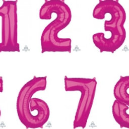 Giant Hot Pink Number Foil Balloon 86cm each