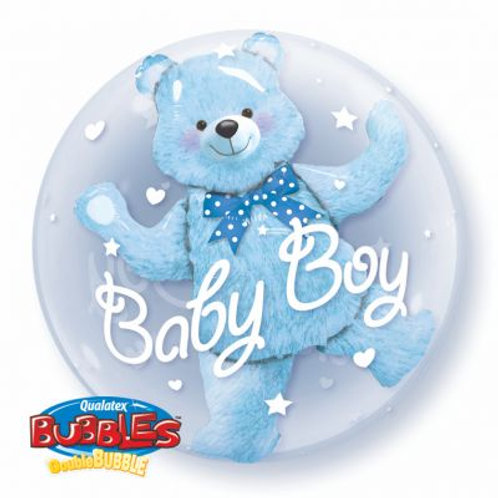 Clear Bubble Blue Bear Double Stuffed Balloon 24 inches