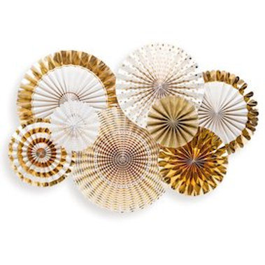 Gold Paper Fan Hanging Decorations - Packet of 8