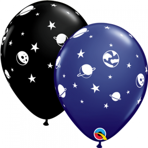 Space Latex Printed Balloon 28cm Pkt of 2