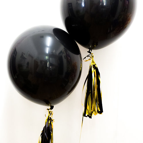"Big Black Balloons 17"" with Balloon Tassels"