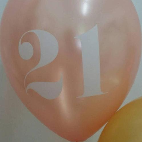 21 Rose Gold Balloon 30cm - Pkt of 10