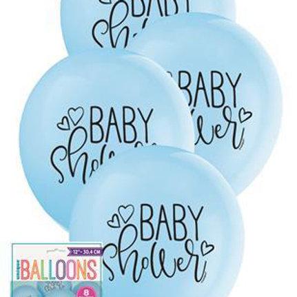 Baby Shower Blue Balloons - Pkt of 8/28cm