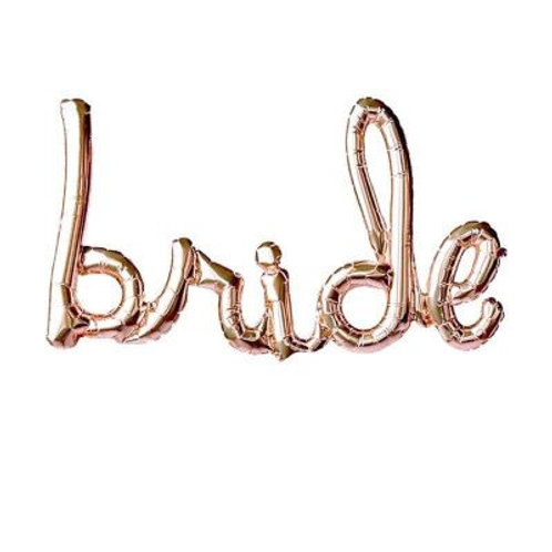 Bride Rose Gold Airfilled Script Foil Balloon