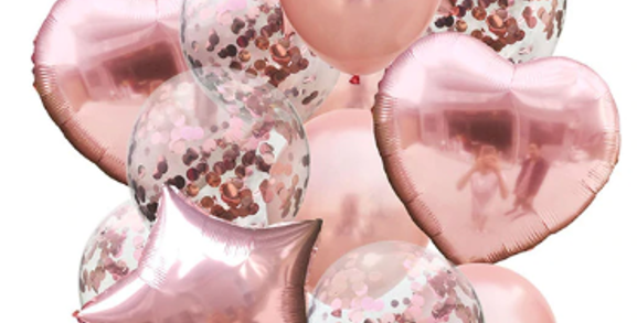 Confetti Balloon Rose Gold Bouquet