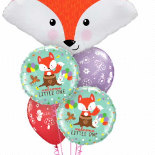 Fabulous Fox Baby Balloon Bouquet - Pkt of 5