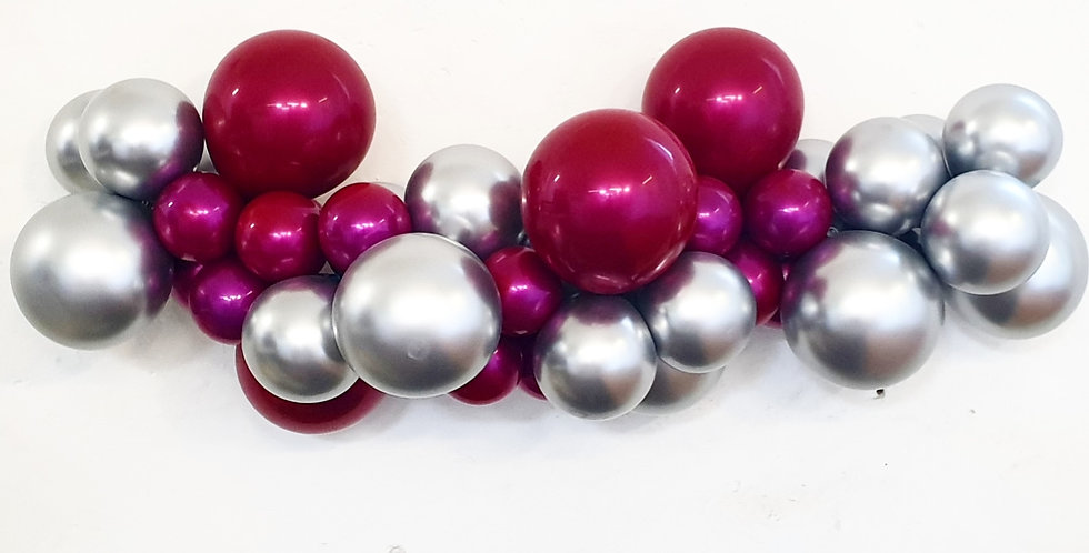 Balloon Garland DIY Kit - Chrome Silver and Hot Pink