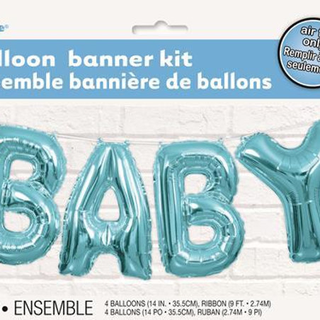 """Baby Foil Letter Balloons 14"""" Blue - Airfill Only"""