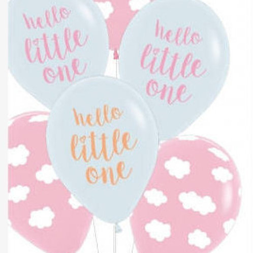 Baby Girl Balloon - Hello little one 30cm - Pkt of 6 Balloons
