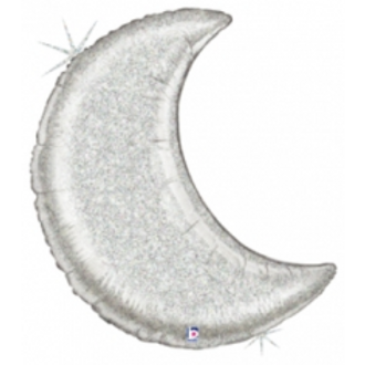 Glitter Silver Moon Foil Balloon
