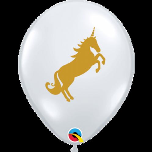 Unicorn Gold on Clear Balloon PKT 5