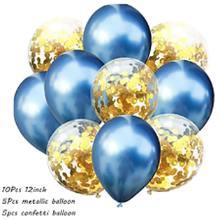 Confetti Balloon Chrome Blue and Gold Bouquet
