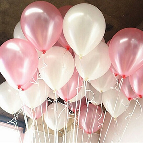 Pink & White Balloons - Pkt of 12