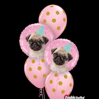Pug and Gold Polka Dot on Pink Balloons - Pkt of 5