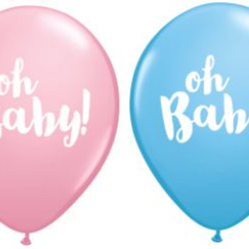 Oh Baby Balloons - Pink & Blue - Size 28cm