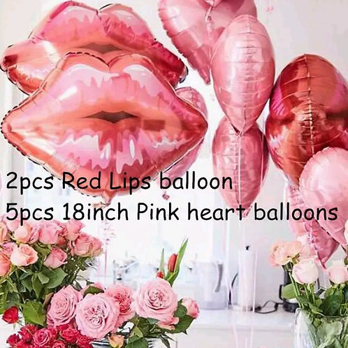 Red Lips and Heart Foil Balloon Bouquet