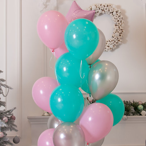 Pretty Pink, Teal, Silver Balloon Mix