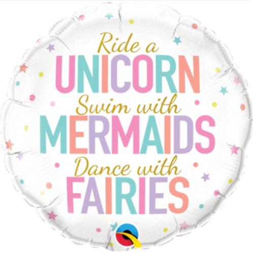 Unicorns, Mermaids and Fairies Foil Balloon