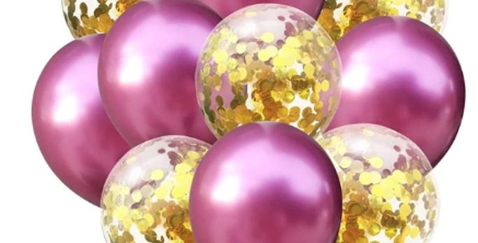 Confetti Balloon Chrome Mauve and Gold Bouquet