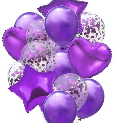 Confetti Balloon Purple, Heart and Star Bouquet