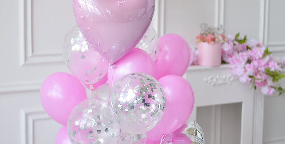 Pink and Silver Balloon Bouquet