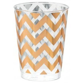 Rose Gold Chevron Print Plastic Cup - Pkt of 20