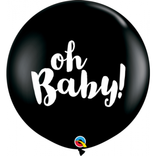Giant Oh baby Gender Reveal Confetti Latex Balloon