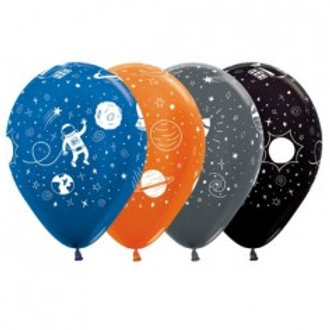 Space Latex Printed Balloon 30cm Pkt of 4