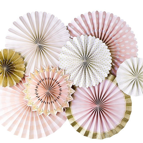 Princess Pink Paper Fan Hanging Decorations - Packet of 8