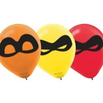 "Incredibles Latex Balloon 12"" Pkt of 6 - Assorted Colours"