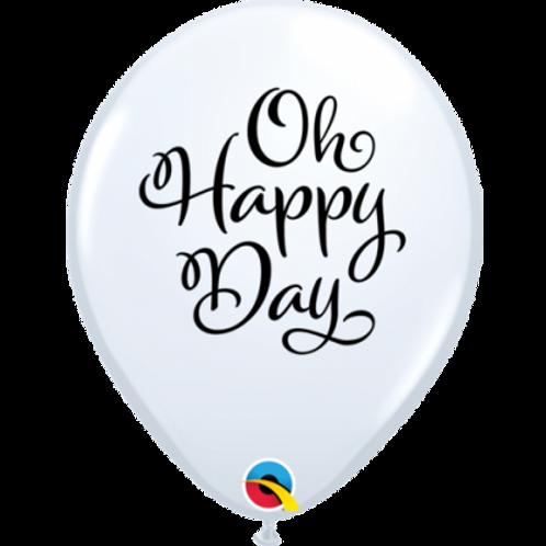 Balloon White Oh Happy Day