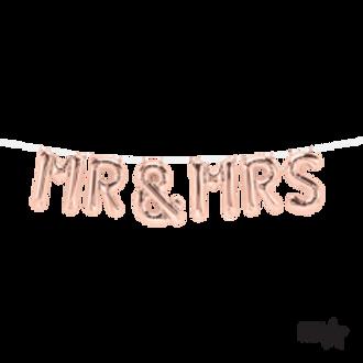 """Mr & Mrs Rose Gold Airfill Letter Foil Balloons 16"""""""