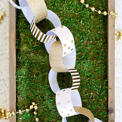 Paper Chains - Gold Print Pkt of 30