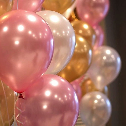 Pink, Gold & White Balloons - Pkt of 12